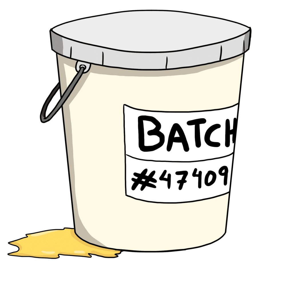 Container of paint with batch number, used to illustrate traceability in manufacturing.