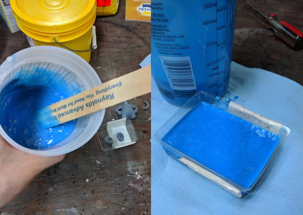 Photos demonstrating Silicone Mold Making for Resin Casting