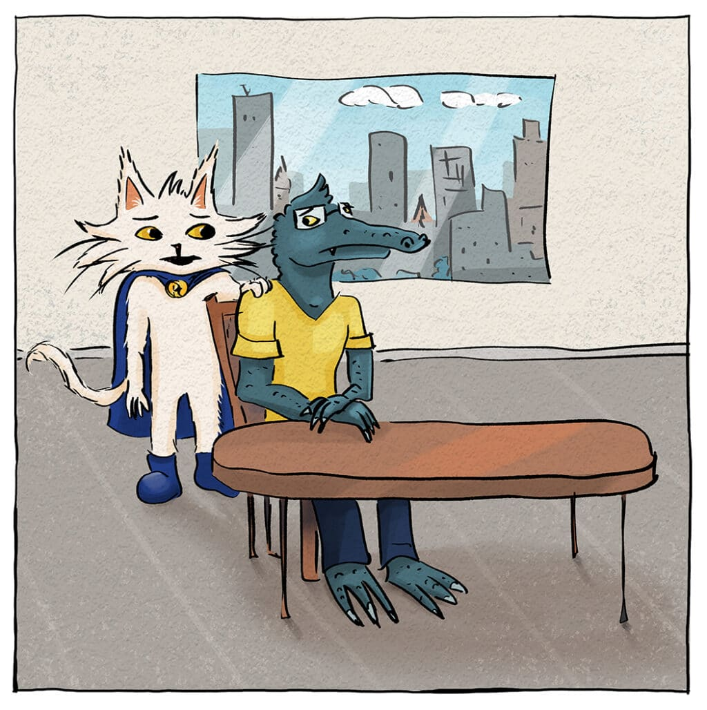 Gary's disappointed but Process Cat helps him feel better.