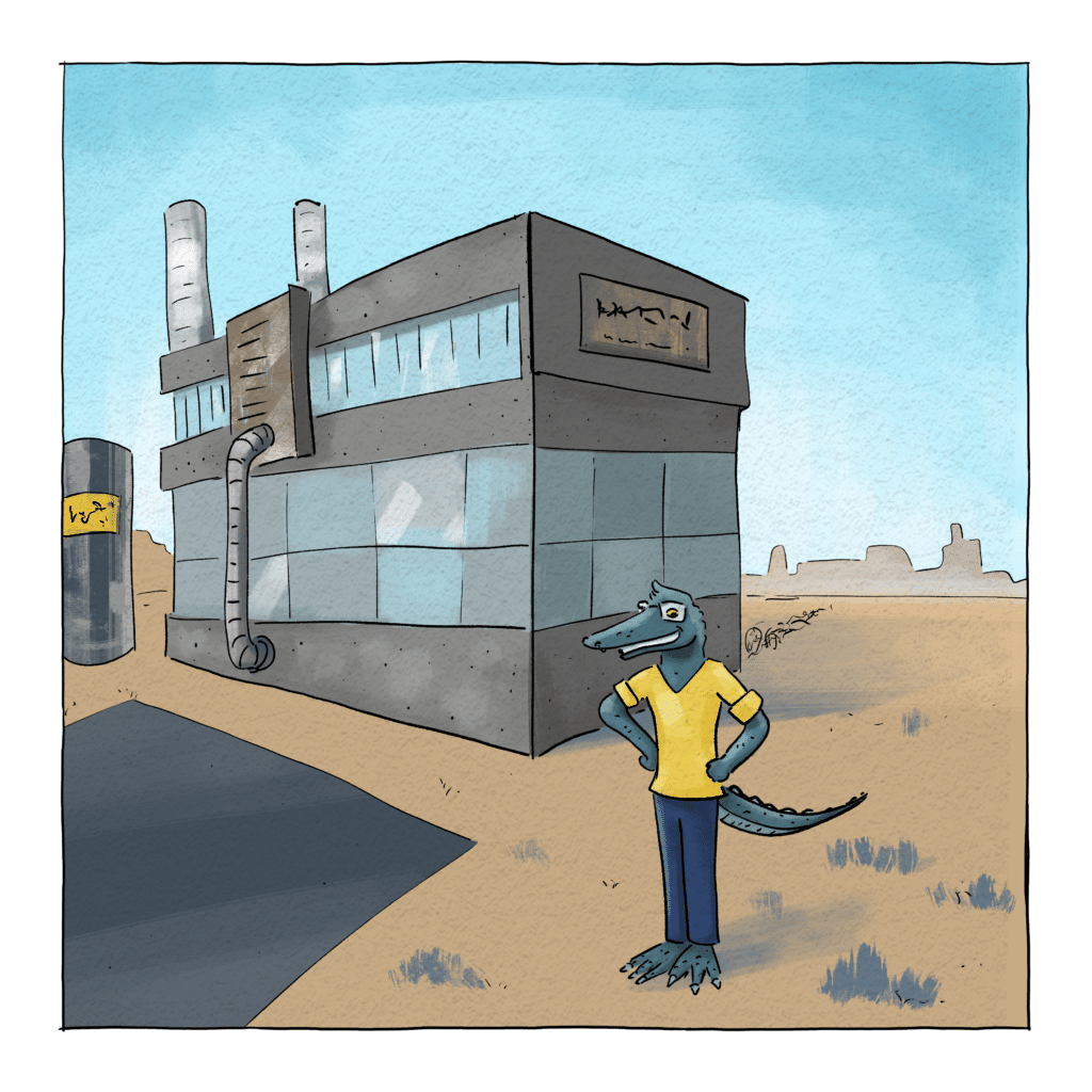 Gary standing in front of a big factory that he wants to fill with robotics